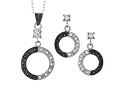 Black/White Marcasite Round CZ Set