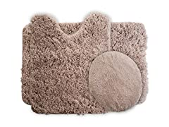 3-Piece Super Plush Non-Slip Bath Mat Rug Set