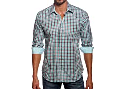 Jared Lang Dress Shirt, Teal/Red Check