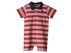 Knit Romper - Red & Blue Stripes (0M-18M)