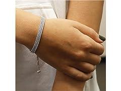3 Row Crystal Adjustable Tennis Bracelet