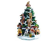 Holiday Dogs Lighted Tree Figurine