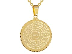 "Men's 18 Kt Gold Plated Stainless Steel Circle ""Our Father"" Prayer Pendant"