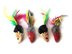 6Pk Short/Long Hair Fur Mice w/Feather Tail - 24 Pcs