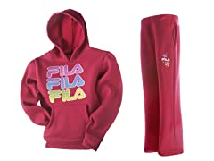 Girls Fleece Set - Logo, Hot Pink (4-6X)