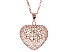 14K Rose Gold Plated Stainless Steel Heart Pendant w/ Swarovski Elements
