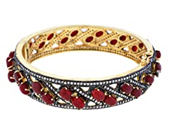 18K Gold-Plated SS 2-Row Carnelian Semi-Precious Gemstone Bangle