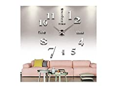 CoZroom Large Silver 3D Frameless Wall Clock Stickers