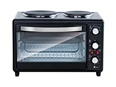 NUTRICHEF Rotisserie Cooker, Dual Hot Plates
