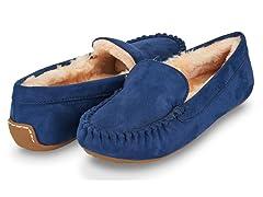 Womens Basic Faux Fur Moccasin Slipper, Navy