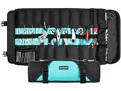 21-Pocket Folding Tool Roll Organizer