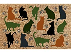 Printed Coir Welcome Mat, Cats Multi