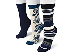"MUK LUKS ® Women's ""Chic"" 3 Pair-Pack Crew Socks"