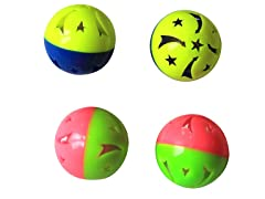 6Pk Two-tone Plastic Ball w/Bell - 24 Pcs