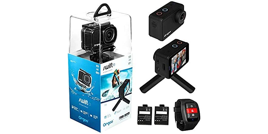 """ORGOO Swift 4K Action Camera, 2"""" IPS Touchscreen, Ip68 Certified Waterproof Case, Wearable Remote, Mini Tripod, and more)   WOOT"""