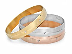 Set of 3 18kt Plated Bangle w/ Sim Diamond