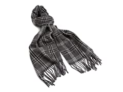 Amicale Cashmere Plaid Scarf, Grey/Grey Plaid, One Size