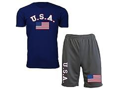 Men U. S. A Flag Tee and Shorts Set