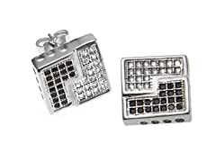 2-Tone Black & White Square Stud Earring