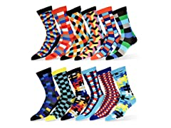 Robert Shweitzer Mens Colorful Patterned Dress Socks 12Pk