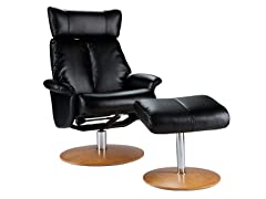 Recliner & Ottoman-Blk Bonded Leather