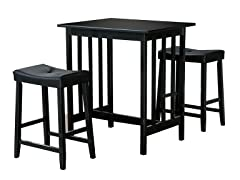 Homelegance 3-PC Black Breakfast Set