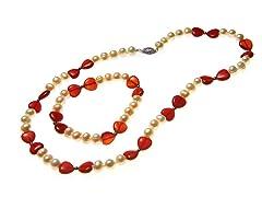 SS & Pearl Necklace & Bracelet Set