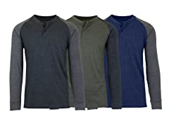 Men's Long Sleeve Marled Henley Tee 3PK