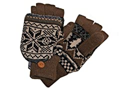 MUK LUKS® Men's Flip Mittens, Brown