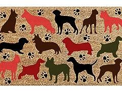 Printed Coir Welcome Mat, Dog Multi