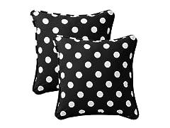 """In/Outdoor 18.5"""" Pillows-Polka Dot-Black-S/2"""