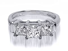 2.00 CTTW 3-Stone Princess Cut Diamond Ring - White Gold