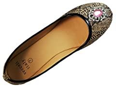 Vecceli Ballet Flat Snake, Light Brown