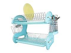 Dish Drainer 2 Tier Plastic Turquoise Dr