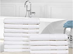 100% Cotton Zero Twist Hand Towels-12 Pack