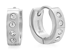 Stainless Steel 10mm Huggie w/ Crystal