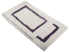 Border Bath Rug-Purple-Set of 2