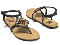 Aria Beaded Sandals, Black