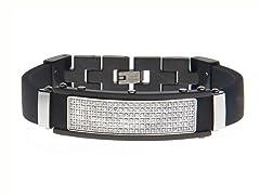 Steel 6-Row Pave CZ Bracelet w/ Rubber