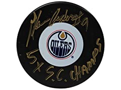 Glenn Anderson Oilers Signed Puck, 5x SC Champs