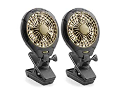 "Treva 5"" Battery Powered Clip Fan - 2 Pack"