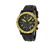 Men's Black/Yellow Silicone Chronograph