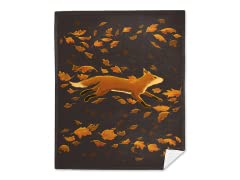 Fox Running Through Fall Mink Fleece Blanket