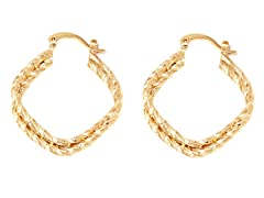 18k Plated Double Layer Diamond Cut Hoops