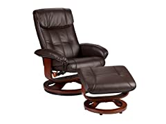 Recliner & Ottoman-Brown Bonded Leather
