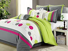 Sporty 8Pc Comforter Set, Beige - 2 Sizes