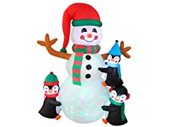 6' Snowman with Three Penguins