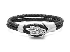 Men's Black Leather Bracelet With Stainless Steel Dragon Head Design