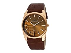 Men's Steel Brown Dial Rose Gold Case Watch