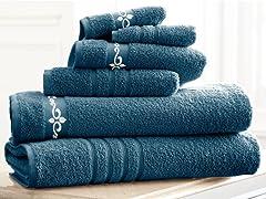 6-Pc 100% Cotton Embroidered Fleur Towel Set